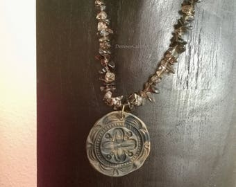 Smokey Quartz Necklace with Tribal Femo Pendant by Denise's Creations