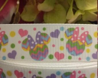 3 yards,  7/8' grosgrain ribbon Minnie mouse design