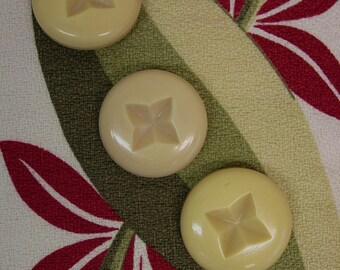 """3 Big Chunky Celluloid Coat Buttons 1 11/16"""" Yellow, Carved"""
