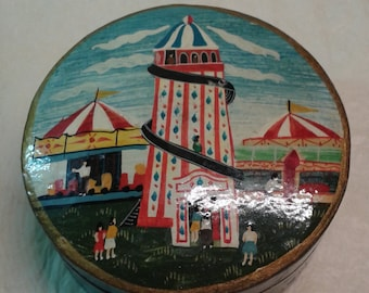 A handmade and handpainted Victorian helter skelter papier mache box