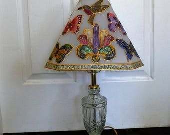 Vintage Lamp Cottage Chic With Hand Painted Butterflies, Birds and Fleur-de-lis
