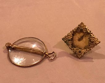 Vintage Folding Magnifier and Miniature Frame