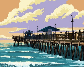 Pier and Sunset (Art Prints available in multiple sizes)