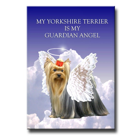 Yorkshire Terrier Guardian Angel Fridge Magnet