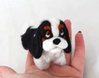 Custom Dog Sculpture,Needle Felted Dog - Cavalier King Charles Spaniel or any breed of Cat, Dog or Horse of Your Choice Made To Order