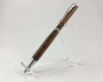 Hand Turned Wood Pen, Walnut, Chrome