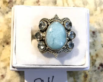 Larimar and Blue Topaz Ring Size 8 1/2
