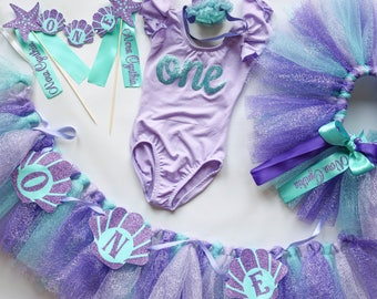 First Birthday Girl Outfit and Decor Set in Purple and Aqua Blue Mermaid Under the Sea Theme, 5 Piece Set Collection