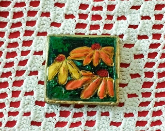 Polymer Clay Combination Pendant/Brooch Flower Piece