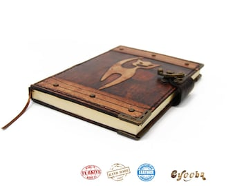 Leather Journal with Cat - medium