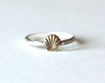 Sterling silver knuckle ring, shell stacking ring - midi ring, hammered, textured knuckle ring, silver ring
