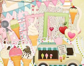 Ice cream scrapbook, Ice cream Truck, Nostalgia scrapbook, Instant download, Children Scrapbook
