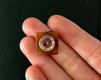 Agate Compass Charm