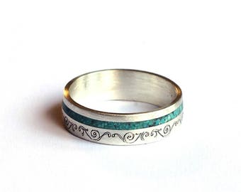 Women Wedding Band, Sterling Silver Wedding Ring with Turquoise Inlay
