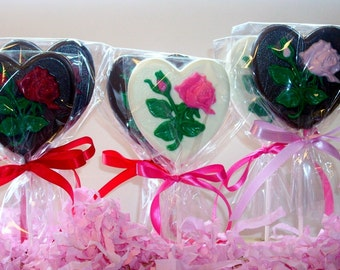 Large Chocolate  Heart and Rose Lollipops weddings showers birthday