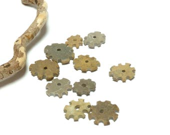 Beach Stone Cogs GEARIN' UP Drilled Pebble Gears Beads Carved Donuts Industrial Jewelry Supplies Natural River Rock Flowers
