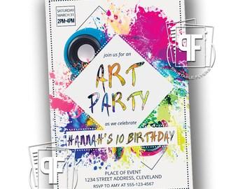 Art Party - Art Birthday Party - Art Birthday Invitation - Art Paint Party - Painting Art Birthday Party Invitation