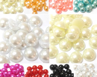 800pc Assorted Sizes Flat Back Pearls - White, Ivory, Peach, Pink, Blue, Green, Yellow, Red, Purple, Gray, Black