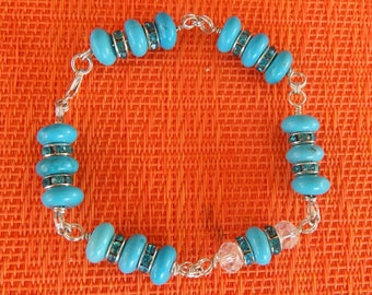Turquoise, Crystal, and Sterling Silver Bracelet