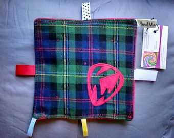 """Keller Williams Baby Toy ~ Corduroy ~ Applique ~ Sensory Toy ~ One of a Kind ~ Baby Blanket ~ Guitar Pick ~ """"Taggie"""" Toy"""