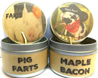 COMBO - Pig Farts and Maple Bacon Set of Two 4 ounce soy tin candles - take them anywhere!