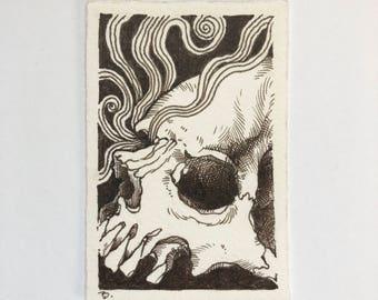 The Ties that Bind #4 skull pen and ink sepia drawing ORIGINAL