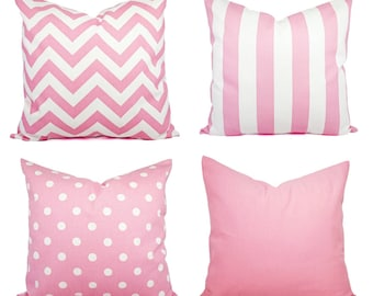 Baby Pink Throw Pillow Covers - Pink Decorative Throw Pillow - Light Pink Pillow - Pink Chevron Pillow - Baby Pink Pillow Sham - Pink Pillow