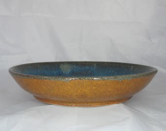 Large shallow blue serving bowl