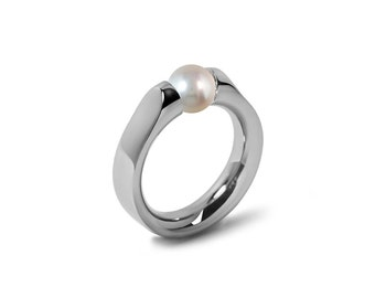 Elegant White Pearl Ring Tension Set in Steel Stainless