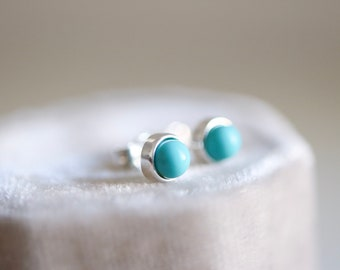 Turquoise earrings. Sterling silver small Turquoise studs. 5mm. Small Turquoise studs, Blue Turquoise studs, silver tiny studs.