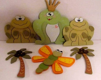 Frogs, Dragonfly and Palm Trees Wooden Cut-Outs