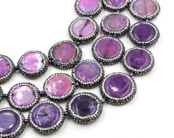 "27mm agate coin beads in purple 15"" strand"