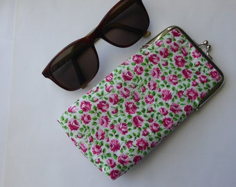 Glasses case, sunglasses case, protective case, clasp case, eyewear case, glasses pouch, handbag accessory, fabric purse, glasses purse