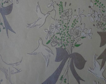 Vintage Gift Wrap Wedding Theme 1960s Wrapping Paper One Sheet--When Doves Fly