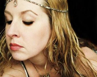 Silver Vitrail Bridal Headpiece hair chain crown halo head chain with Swarovski crystals tiara