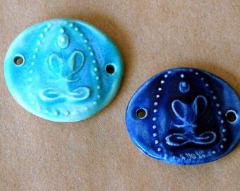 2 Handmade Ceramic Beads - Sweet Set of Buddha Meditation Figure Bracelet Beads
