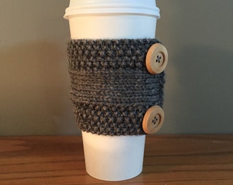 adorable handmade knitted coffee cozy with buttons (in grey)