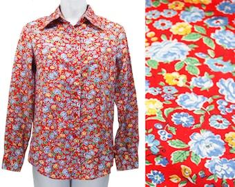 10 Dollar Sale---Vintage 80's BOBBIE BROOKS Red Blue & Yellow Floral Pattern Blouse Shirt S