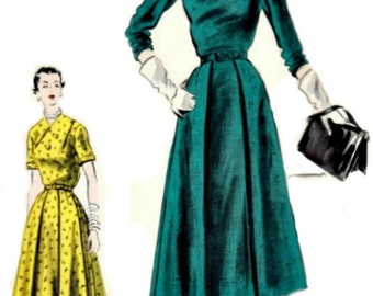 1950's High Fashion Vogue Dress Pattern  VOGUE S-4379  1952 Special Design UNCUT, Factory-Folded with Label Included!  Bust 32