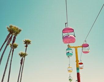 Santa Cruz Boardwalk Photograph, Pastel Beach Decor, Carnival Nursery Art, Nursery Decor, Palm Trees, Summer Fun, Print - Endless Summer