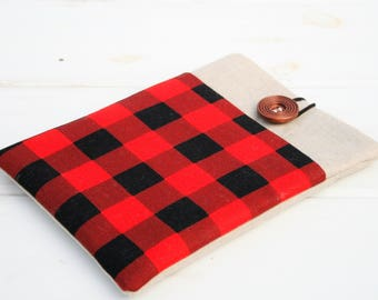 Hipster 13 Macbook Pro Sleeve, 13 Lenovo Case, Red and Black Buffalo Plaid Check Computer Case, 13 HP Case, Linen and Plaid Case with Pocket