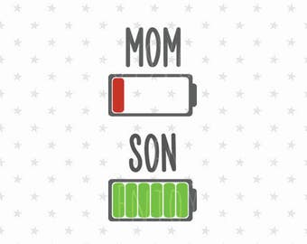 Battery mom and son svg set Mother's Day svg Low Battery svg Mom and son svg Battery svg Battery svg file Mothers Day svg Mother's Day svg
