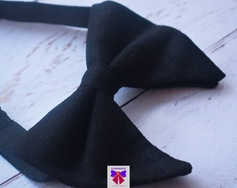 Black linen butterfly / poppy Bow Tie  for Baby, Toddlers and Boys (Kids Bow Ties) with Braces / Suspenders for church, wedding, birthday