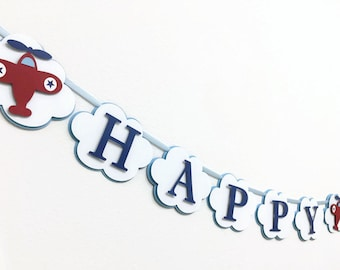 Airplane or Helicopter Birthday Banner. Airplane Party. Airplane Name Banner. Airplane Birthday Party. Plane Happy Birthday Banner