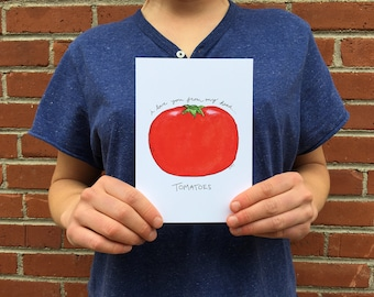 I Love You From My Head Tomatoes 5x7 Watercolor Print
