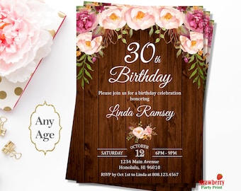 30th Birthday Invitation for Her, Surprise 30th Birthday Invitation, Floral Birthday Invitation, Rustic Birthday Invitation, A33