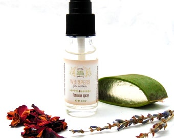 Whispers for Women Feminine Spray, Intimate Cleanser, Yoni Care, Vaginal Care, Feminine Care, Personal Hygiene, Hemorrhoid 1/2 oz or 2 oz