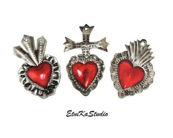 """red HEART ornaments, set of 3 handmade mini tin """"milagros"""", Mexican decor with hand punched designs, small wall hanging decor"""