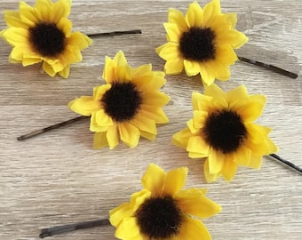Mini Sunflower Hair Pin, Sunflower Hair Clip, Flower Hair Pin, Floral Hair Pin, Floral Hair Clip, Flower Hair Clip, Sunflower Barrette, Clip