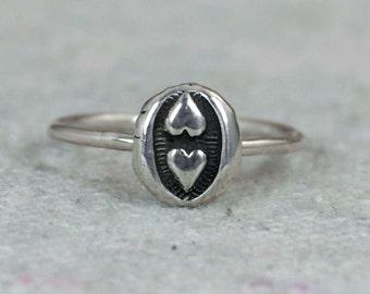 Two Heart Ring, 2 Heart Ring, Dual Heart Ring, Double Heart Ring, Bohemian Ring, Silver Ring, Sterling Ring, Gypsy Ring, Hippie Ring, BOHO
